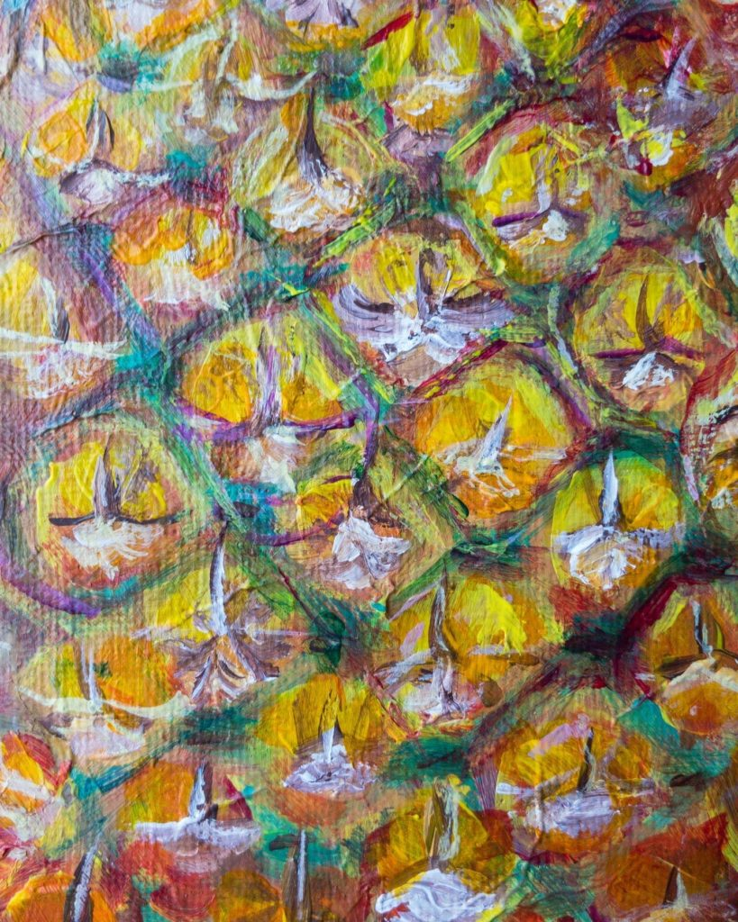 Detailed View of Pineapple Painting By Shukri Khan